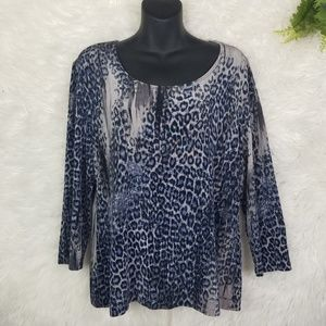 Chico's Travelers Leopard Print Top Size 2